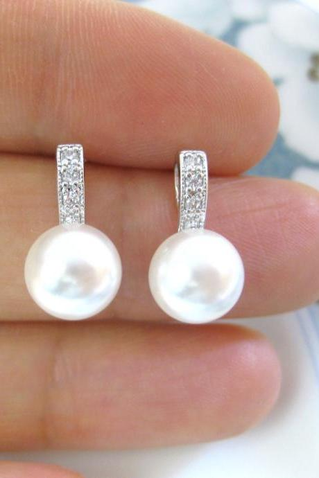 Bridal Pearl Stud Earrings Swarovski 8mm or 10mm Pearl Wedding Pearl Earrings Bridesmaids Gift Cubic Zirconia Minimalist Jewelry (E117)