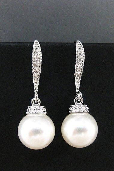 Bridal Pearl Earrings Wedding Pearl Earrings Swarovski 10mm Pearl Bridesmaids Gift Cubic Zirconia Earrings Bridal Party Drop Earrings (E005)