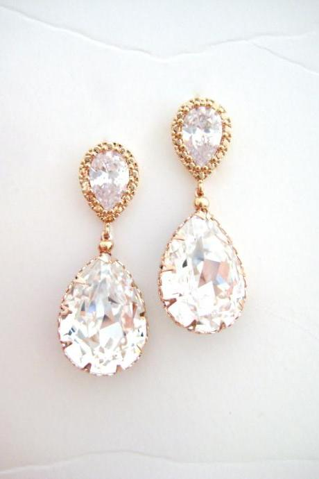 Bridal Crystal Earrings Rose Gold Wedding Jewelry Swarovski Crystal Teardrop Earrings Bridesmaid Gift Bridal Party Earrings (E008)