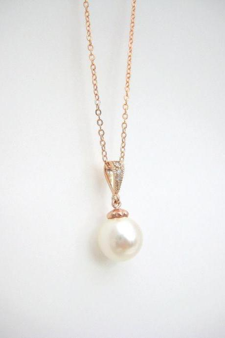 Rose Gold Bridal Pearl Necklace Wedding Pearl Necklace Rose Gold Necklace Swarovski 10mm Pearl Bridesmaid Gift Single Pearl Necklace (N053)