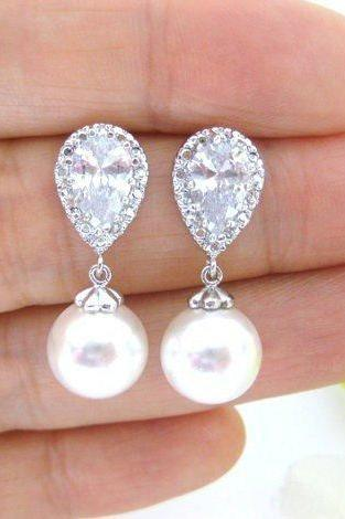 Bridal Pearl Earrings Swarovski 10mm Round Pearl Earrings Drop Dangle Earrings Wedding Jewelry Bridesmaid Gift Bridal Earrings (E176)