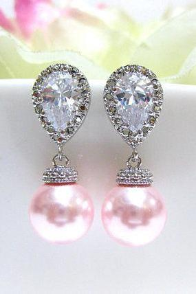 Blush Pink Earrings Bridal Pearl Earrings Wedding Jewelry Swarovski Rosaline 10mm Pearl Bridesmaids Gift Cubic Zirconia Earrings (E014)