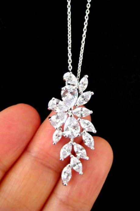 Bridal Crystal Necklace Cubic Zirconia Necklace Wedding Necklace Bridesmaids Gift Multi-Stone Necklace Sparky Necklace (N066)