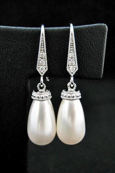 Bridal Pearl Earrings Swarovski Teardrop Pearl Earrings Drop Dangle Earrings Bridesmaid Gift Wedding Pearl Earrings Pearl Jewelry (E205)
