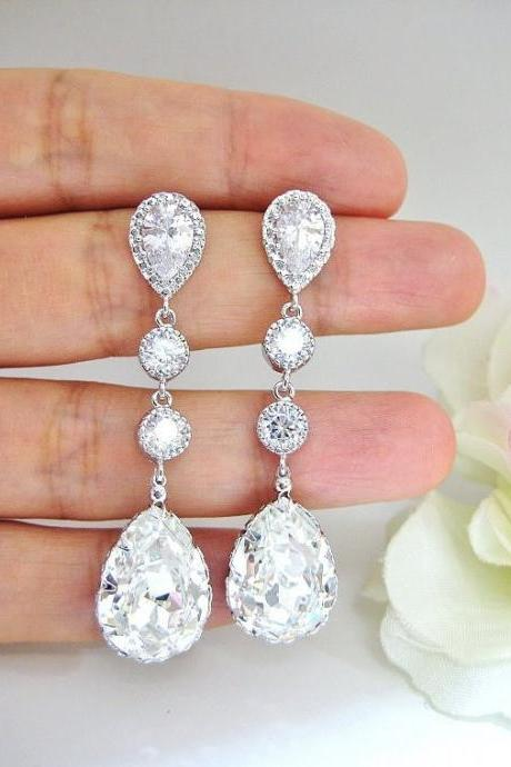 Bridal Crystal Earrings Wedding Jewelry Swarovski Clear White Crystal Teardrop Bridesmaid Gift Cubic Zirconia Earrings Sparky Earring (E306)