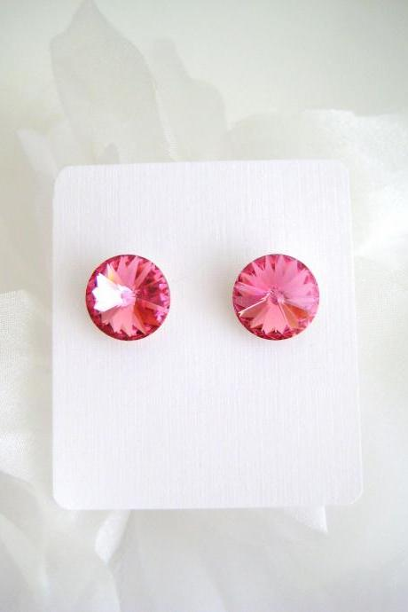 Ruby Pink Crystal Stud Earrings Swarovski 12mm Crystal Hot Pink Wedding Earrings Bridesmaid Gift Valentine's Day Gift Birthday Gift (E314)