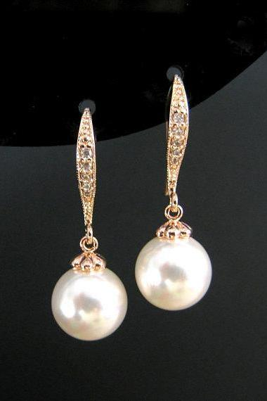 Rose Gold Pearl Earrings Bridal Pearl Earrings Swarovski 10mm Round Pearl Wedding Jewelry Bridesmaid Gift Ear hooks Drop Earrings (E004)