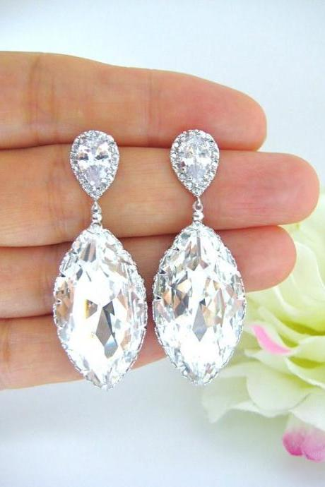 Swarovski Crystal Teardrop Earrings Navette Drop Earrings Wedding Jewelry Bridesmaid Gift Cubic Zirconia Earrings Square Cut Earrings (E195)