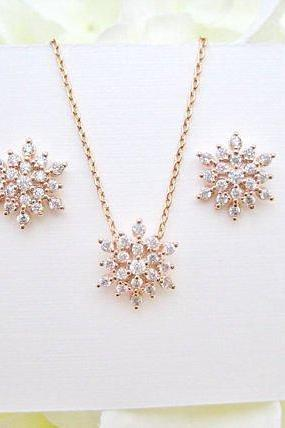 Rose Gold Snowflake Earrings & Necklace Gift Set Cubic Zirconia Snow Stud Earrings Wedding Jewelry Bridesmaids Gift Christmas Gift (E082)