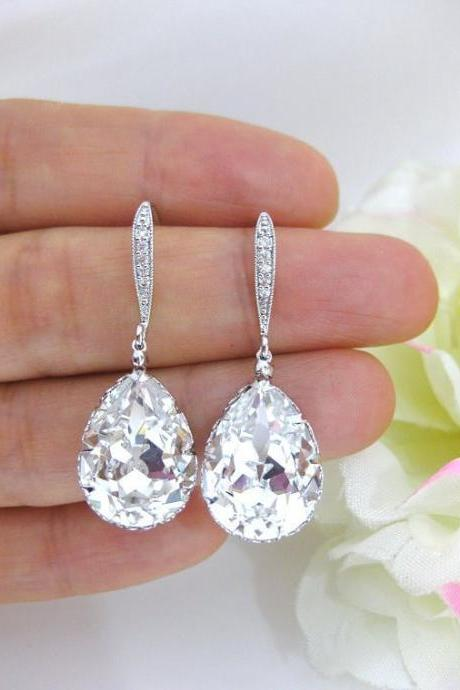 Bridal Crystal Earrings Wedding Jewelry Swarovski Crystal Teardrop Earring Bridesmaid Gift Bridal Party Earrings Long Bridal Earrings (E122)