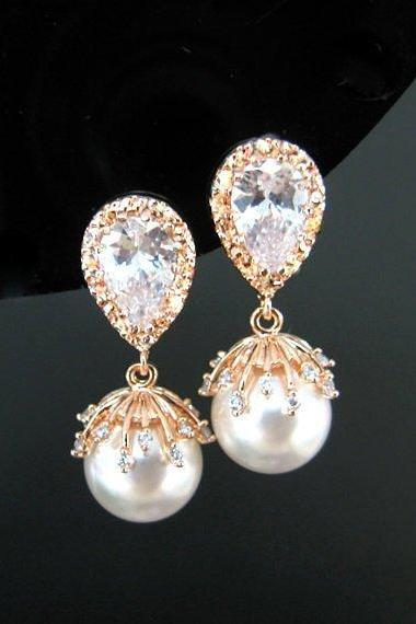 Rose Gold Bridal Pearl Earrings Swarovski 10mm Round Pearl Cubic Zirconia Earrings Wedding Jewelry Bridesmaid Gift Mother of Bride (E301)