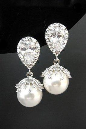 Bridal Pearl Earrings Swarovski 10mm Pearl Floral Cubic Zirconia Wedding Jewelry Bridesmaid Gift Birthday Gift Mother of the Bride (E301)