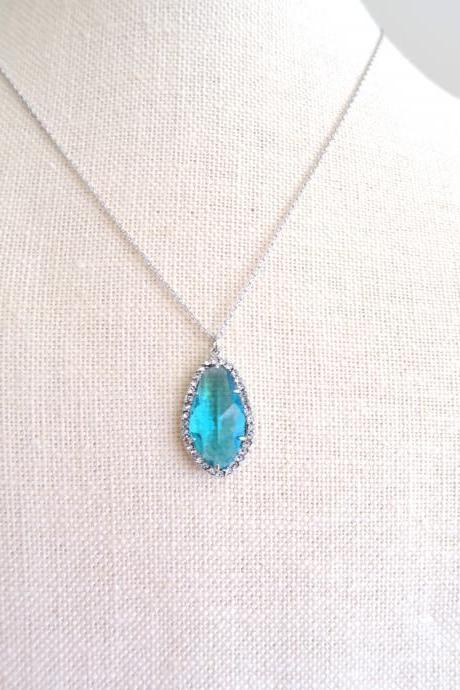 Teal Blue Teardrop Necklace Light Blue Crystal Charm Necklace Sky Blue Wedding Necklace Bridesmaids Gift Birthday Gift (N013)