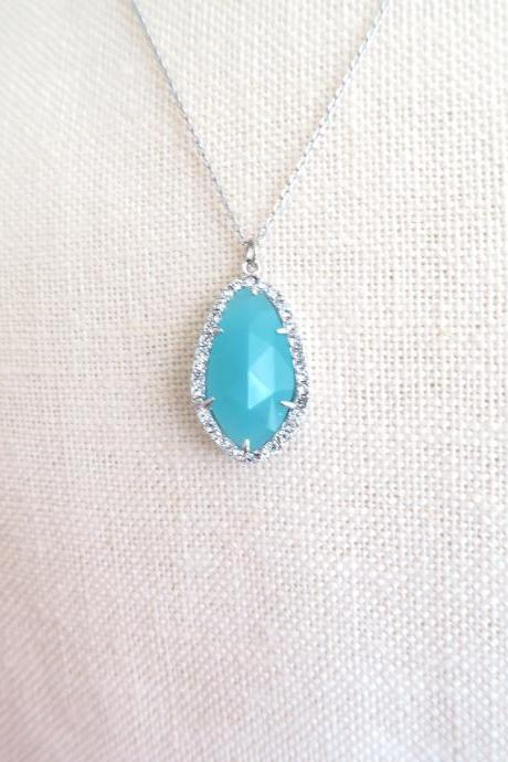 Cloudy Mint Teardrop Necklace Light Blue Crystal Charm Necklace Sky Blue Wedding Necklace Bridesmaids Gift Birthday Gift (N013)