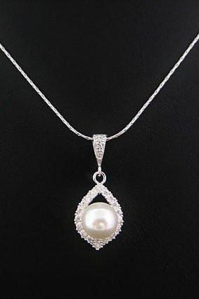 Bridal Pearl Necklace Cubic Zirconia Teardrop Necklace Swarovski 8mm Round Pearl Wedding Pearl Pendant Bridesmaids Gift (N055)