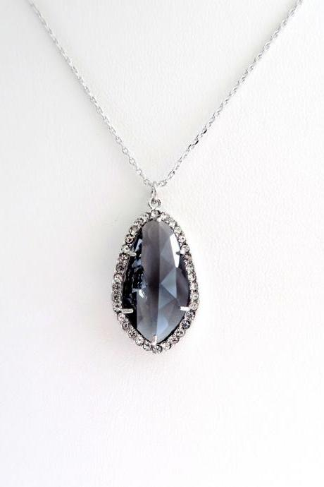Dark Grey Teardrop Necklace Charcoal Crystal Charm Necklace Wedding Pendant Bridal Necklace Bridesmaids Gift Birthday Gift (N013)