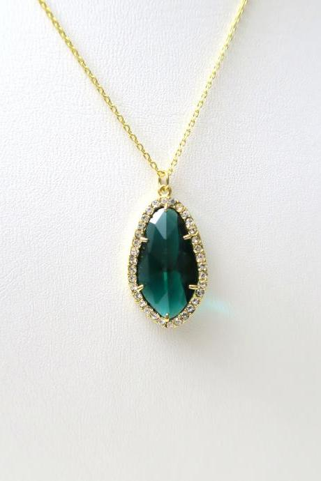 Emerald Green Teardrop Necklace Crystal Charm Necklace Green Wedding Bridal Necklace Bridesmaids Gift Birthday Gift Valentine's Day (N013)