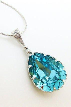 Teal Blue Teardrop Necklace Swarovski Crystal Light Turquoise Necklace Blue Necklace Wedding Jewelry Bridesmaid Gift (N040)