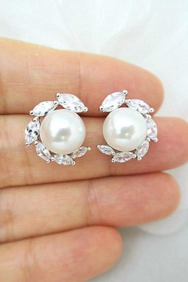 Bridal Pearl Earrings Lux Cubic Zirconia Stud Earrings Wedding Jewelry Swarovski 10mm Pearl Bridesmaids Gift Crystal Earrings (E305)
