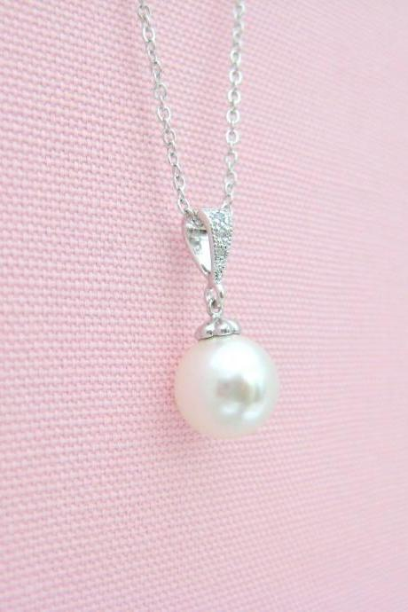Bridal Pearl Necklace Wedding Pearl Necklace Swarovski 10mm Pearl Necklace Bridesmaid Gift Wedding Necklace Single Pearl Necklace (N053)
