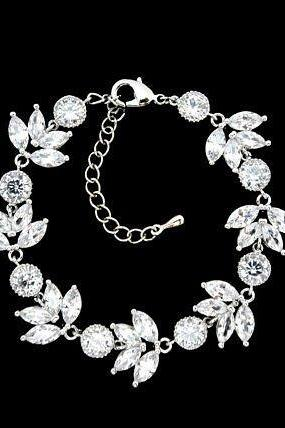 Wedding Bracelet Bridal Bracelet Crystal Clear Bracelet Cubic Zirconia Bracelet Floral Bracelet White Gold Bracelet Wedding Jewelry (B004)