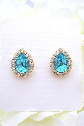 Swarovski Teal Blue Stud Earrings Light Turquoise Earrings Light Blue Earrings Wedding Earring Bridal Stud Earrings Cubic Zirconia (E303)