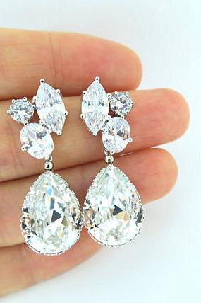 Bridal Crystal Earrings Swarovski Teardrop Crystal Earrings Clear White Cubic Zirconia Earrings Wedding Jewelry Bridesmaid Gift (E003)