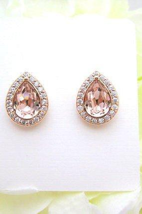 Swarovski Vintage Rose Teardrop Stud Earrings Light Peach Earrings Champagne Crystal Earrings Wedding Jewelry Rose Gold Earrings (E303)