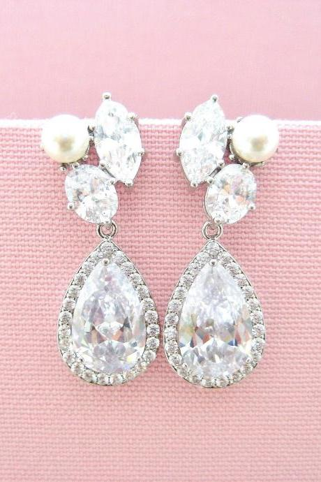 Bridal Crystal Earrings Cubic Zirconia Teardrop Wedding Earrings Swarovski Pearl Earrings Rhinestone Earrings Bridesmaids Gift (E312)