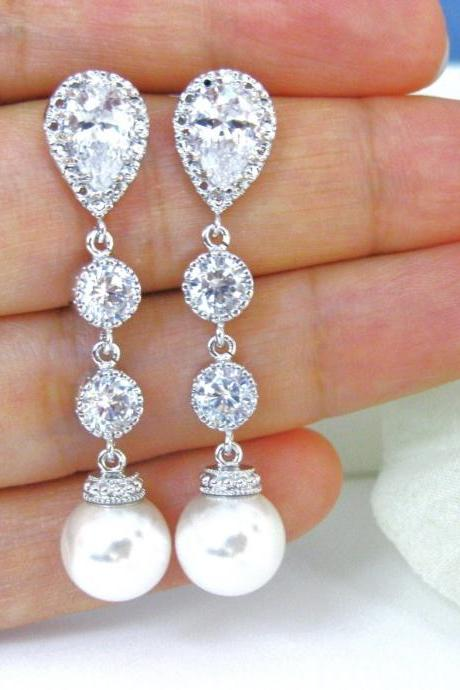 Bridal Pearl Earrings Swarovski 10mm Round Pearl Earrings Wedding Jewelry Bridesmaid Gift Cubic Zirconia Earrings (E039)