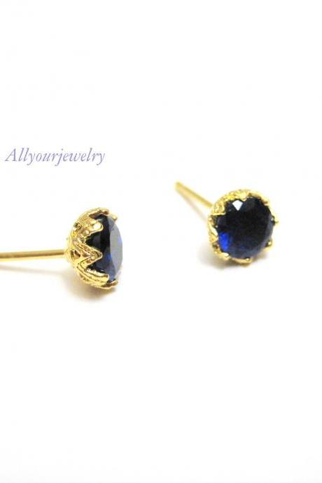 Montana Blue Stud Earrings Cubic Zirconia Stud Earrings Bridal Wedding Jewelry Bridesmaids Gift Christmas Gift Blue Earrings (E106)