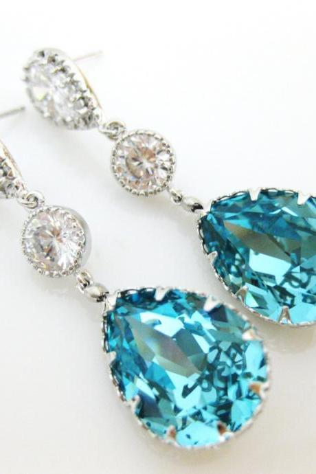 Teal Blue Teardrop Earrings Bridal Crystal Earrings Wedding Jewelry Swarovski Light Turquoise Crystal Cubic Zirconia Earrings (E164)