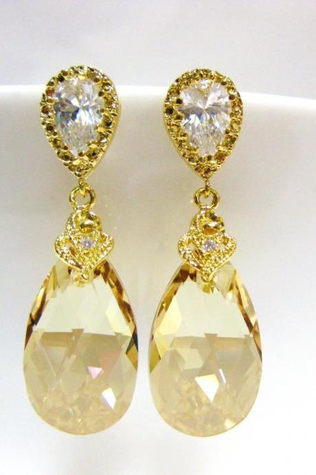 Swarovski Golden Shadow Earrings Bridal Crystal Earrings Champagne Gold Teardrop Earrings Bridesmaids Gift Wedding Jewelry Gift Set (E024)