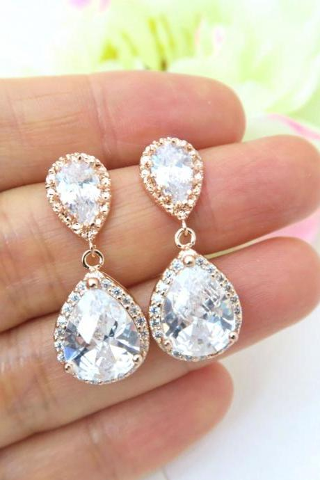 Rose Gold Earrings Large Lux Cubic Zirconia Earrings Teardrop Earrings Bridal Drop Earring Bridesmaid Gift Wedding Jewelry (E033)