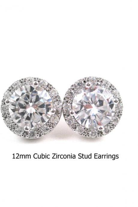 Bridal Crystal Earrings Lux Cubic Zirconia Stud earrings 12mm Round Halo Vintage Style Button Earrings Wedding Jewelry (E218)