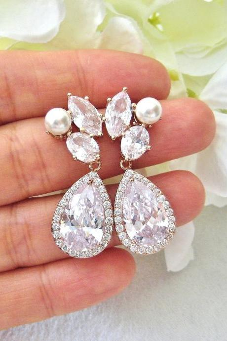 Bridal Crystal Earrings Rose Gold Teardrop Earrings Wedding Pearl Earrings Swarovski Pearl Earrings Bridesmaids Gift (E312)