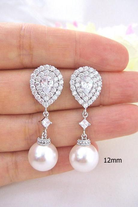 Bridal Pearl Earrings Cubic Zirconia Teardrop Earrings Swarovski 12mm Pearl Halo Style Earrings Wedding Jewelry Bridesmaid Gift (E217)