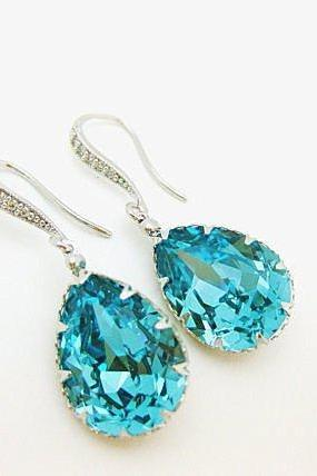 Teal Blue Earrings Swarovski Light Turquoise Earrings Crystal Blue Earrings Wedding Jewelry Bridal drop Earrings Bridesmaids Gift (E139)