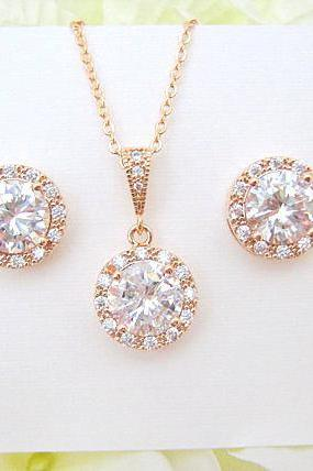 Bridal Cubic Zirconia Necklace 12mm Round Halo Style Necklace Vintage Style Button Earrings Wedding Jewelry Bridesmaid Gift (E218)