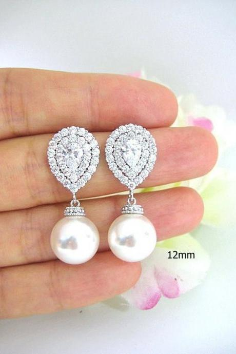 Bridal Pearl Earrings Wedding Jewelry Swarovski 12mm Pearl LUX Cubic Zirconia Teardrop Earrings Multi-Stone Halo Style Earrings (E217)