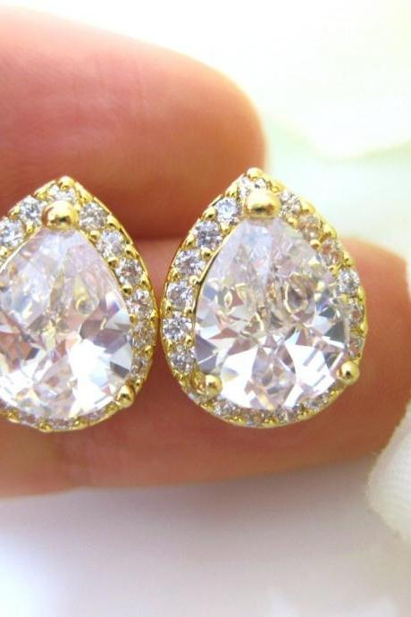 Gold Crystal Earrings Cubic Zirconia Teardrop Stud Earrings Wedding Jewelry Bridesmaid Gift Bridal Stud Earrings Gold Earrings (E010)
