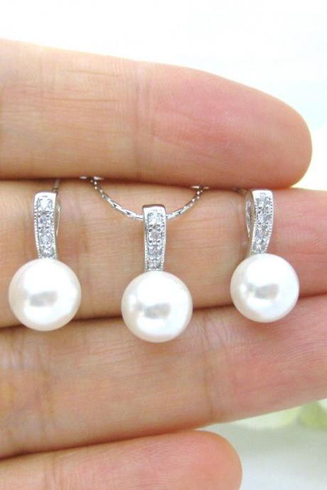 Bridal Pearl Earrings & Necklace Gift Set Swarovski Crystal 8mm or 10mm Pearl Wedding Jewelry Bridesmaids Gift Pearl Stud Earrings (NE047)
