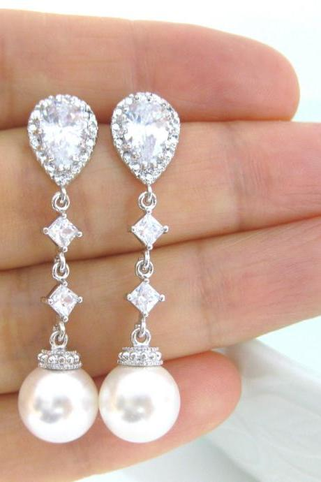 Bridal Pearl Earrings Wedding Jewelry Bridesmaid Gift Bridesmaid Earrings Swarovski Pearl Earrings (E036)