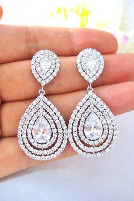 Bridal Crystal Earrings Wedding Jewelry Cubic Zirconia Multi-Stone Teardrop Earrings Wedding Earrings Bridesmaid Gift (E219)