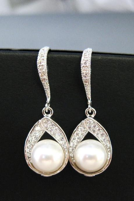 Bridal Pearl Earrings Wedding Jewelry Swarovski 8mm Pearl Cubic Zirconia Teardrop Earrings Drop Dangle Earrings Bridesmaid Gift (E017)