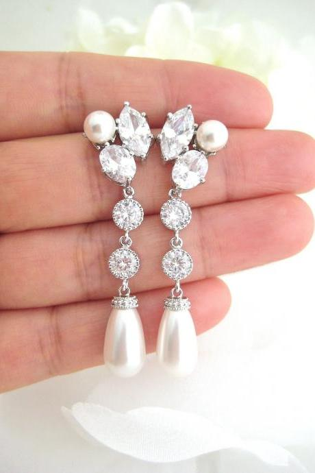 Bridal Teardrop Pearl Earrings Wedding Earrings Swarovski Pearl Earrings Bridesmaids Gift Crystal Cubic Zirconia Earrings (E313)