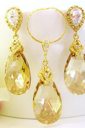 Champagne Golden Teardrop Necklace & Earrings Swarovski Crystal Golden Shadow Wedding Jewelry Bridal Earrings Bridesmaids Gift (NE006)