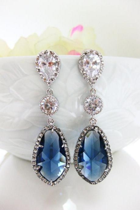 Montana Blue Teardrop Earrings Bridal Earrings Wedding Jewelry Blue Earrings Cubic Zirconia Bridesmaids Gift (E055)