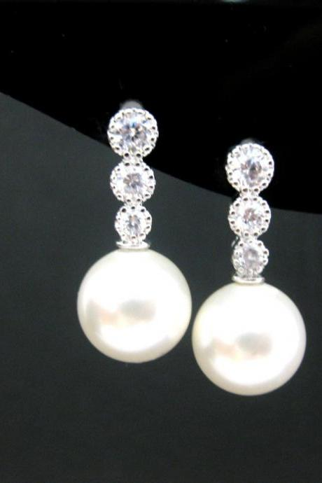 Bridal Pearl Earrings Pearl Stud Earrings Swarovski 10mm Round Pearl Wedding Jewelry Bridesmaids Gift Cubic Zirconia Earrings (E181)