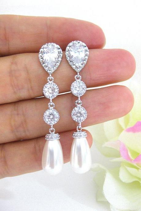 Bridal Pearl Earrings Wedding Jewelry Teardrop Pearl Earrings Cubic Zirconia Earrings Bridesmaids Gift Swarovski Pearl (E090)